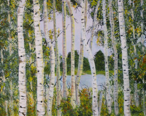 "Birch Trees - Deep Canvas 30"" x 24"" Acrylic"