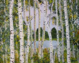 "Birch Trees - Deep Canvas 30"" x 24"" Acrylic"