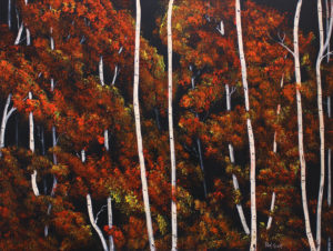 Birch Trees In Fall - Painting - Deep Canvas 36x 48 Acrylic