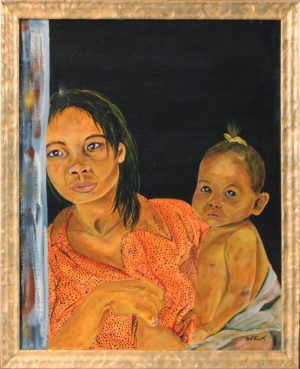 "Vietnam Lady + Child Acrylic Painting 22"" x 28"""