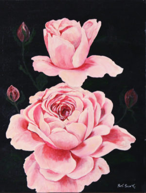 """Pink Roses Acrylic Painting 18"""" x 24"""""""