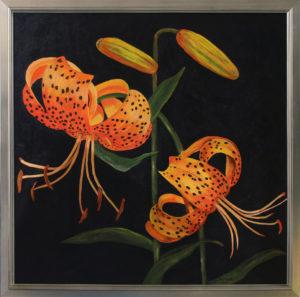 Wild Tiger Lilies Acrylic Framed 3' x 3'