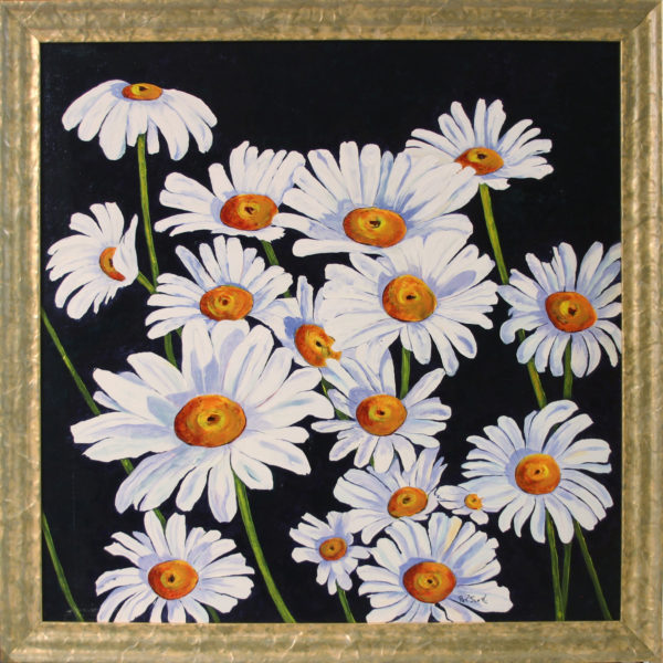 Field of daisies framed acrylic painting