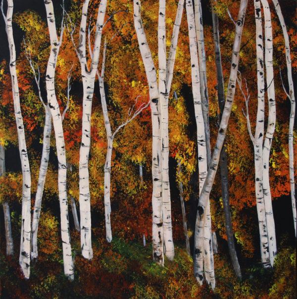 Fall Birch acrylic painting 3' x 3'