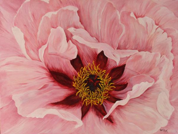 "Peony Pink acrylic painting 30"" x 40"""