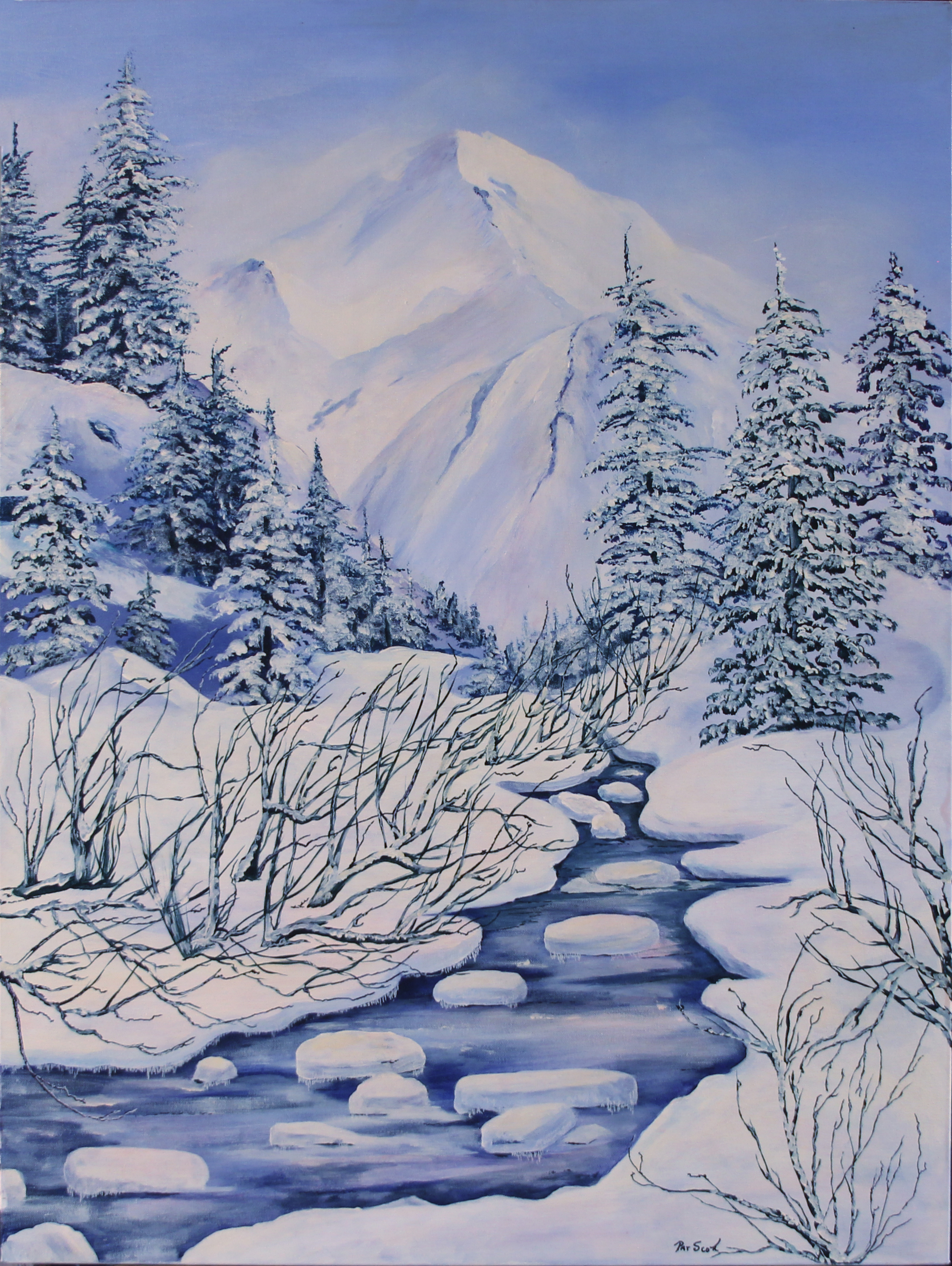 winter scene acrylic painting deep canvas 30 by 40 pat