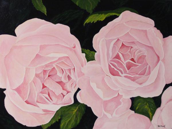 Rose acrylic painting deep canvas
