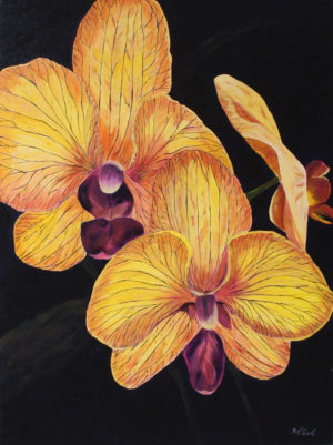 Orchid acrylic painting deep canvas