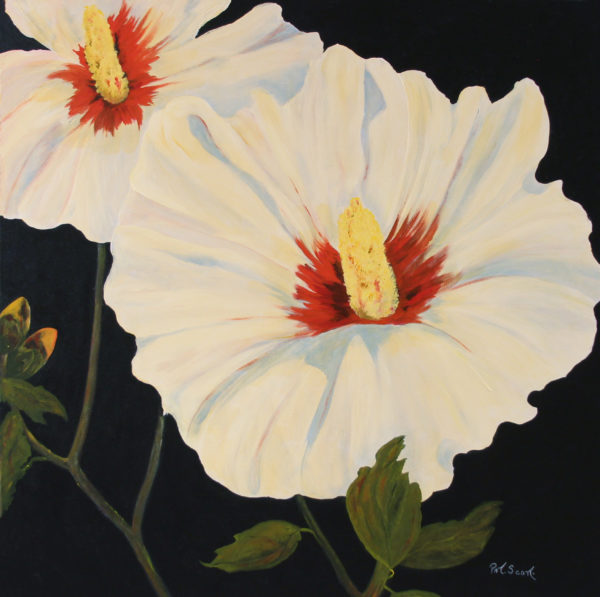 White Hibiscus acrylic painting deep canvas