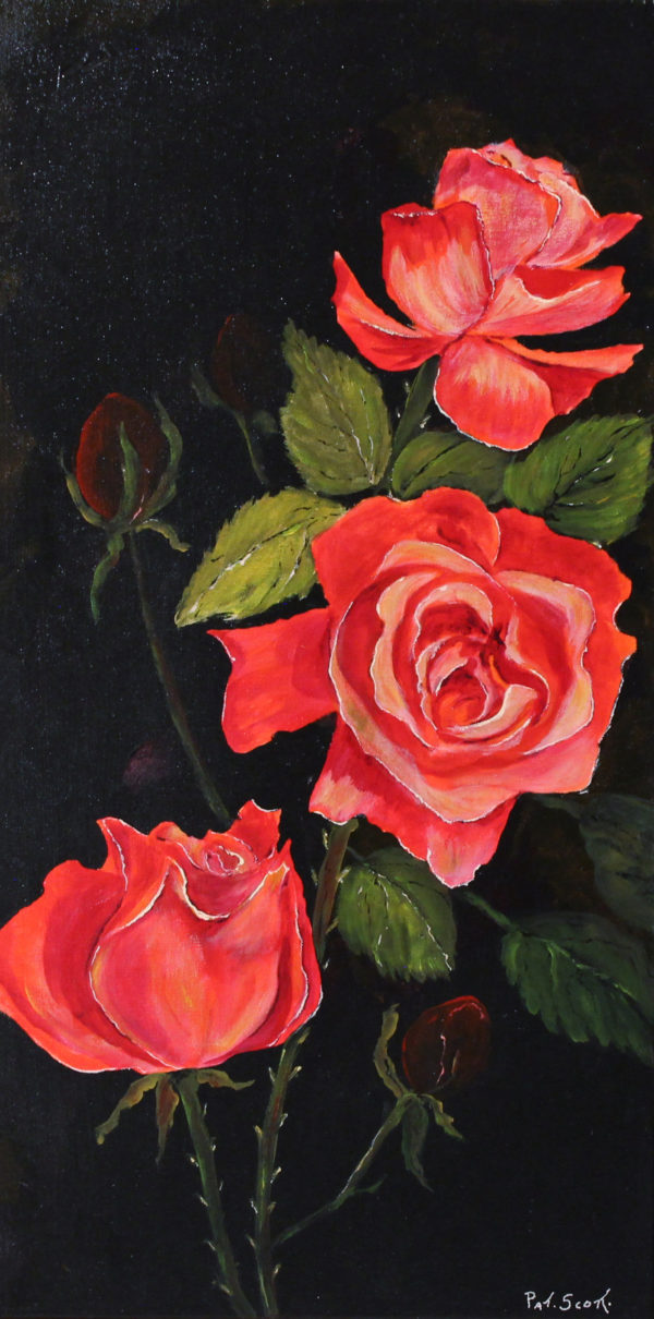 Red Roses acrylic painting deep canvas