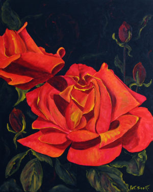 Star Rose acrylic painting deep canvas