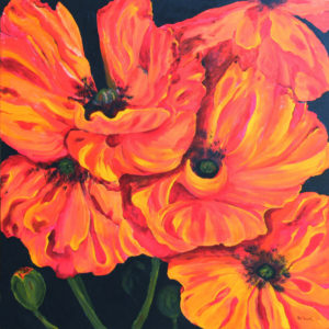 Poppies acrylic painting deep canvas