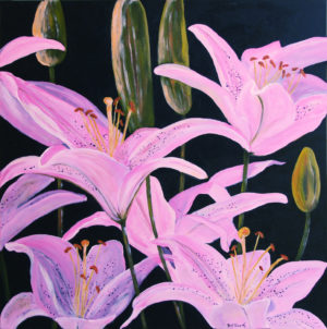 Oriental Lilies acrylic painting deep canvas