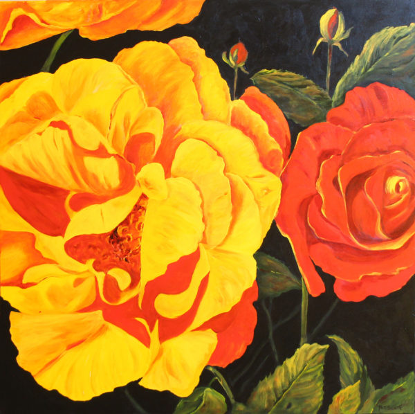 Peony acrylic painting deep canvas
