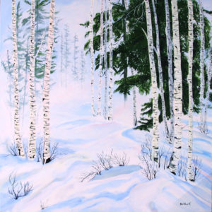 Winter Scene acrylic painting deep canvas