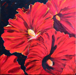 Holly Hocks acrylic painting deep canvas