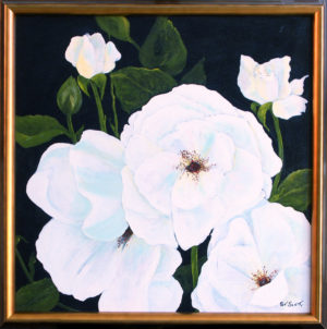 White Rose framed acrylic painting deep canvas