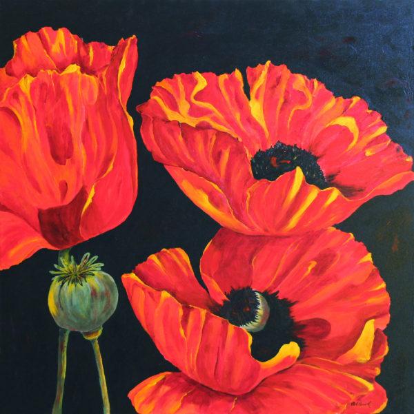 Poppys acrylic painting deep canvas