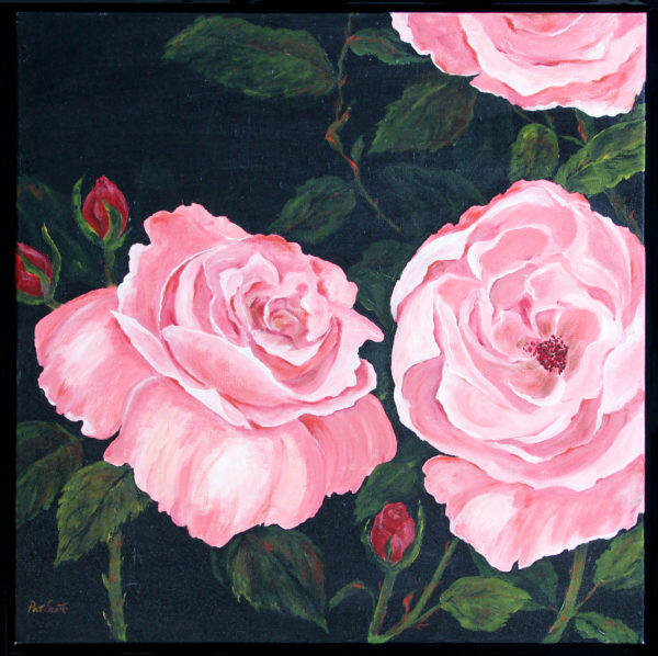 Pink Rose framed acrylic painting deep canvas