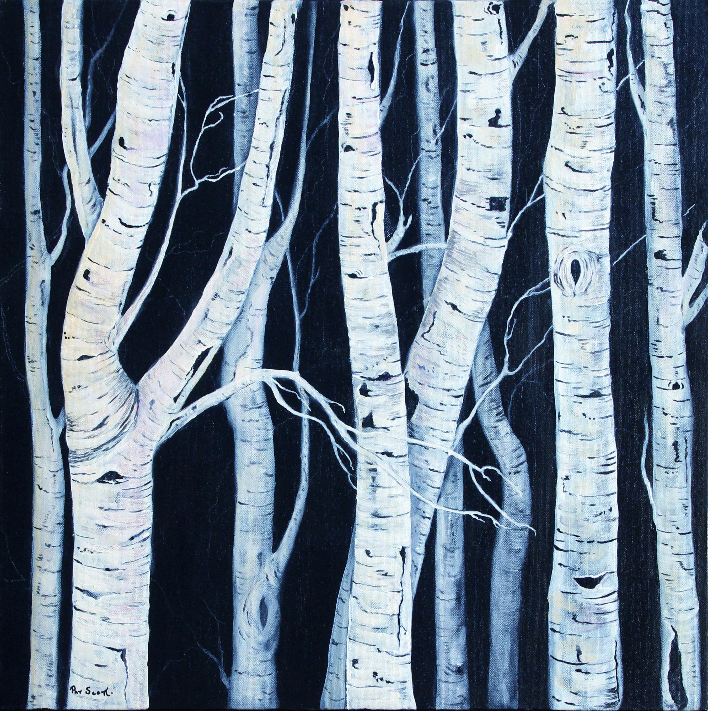 birch trees acrylic painting deep canvas 2 by 2 pat scott