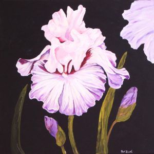 Pink and Mauve Iris acrylic painting