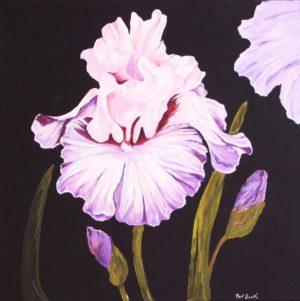 Pink and Mauve Iris acrylic painting