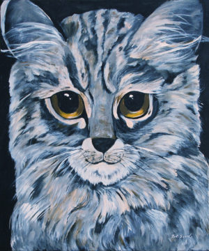 Cat acrylic painting deep canvas