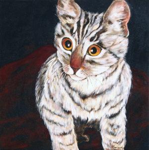 Cat acrylic painting deep canvas