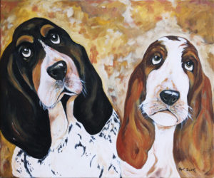 Basset Hounds acrylic painting deep canvas