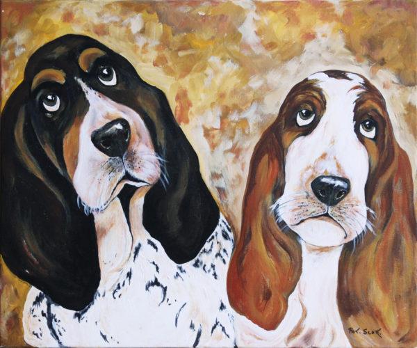Basset Hounds acrylic painting deep canvas