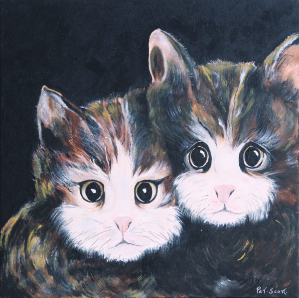 Two Cats acrylic paintings deep canvas