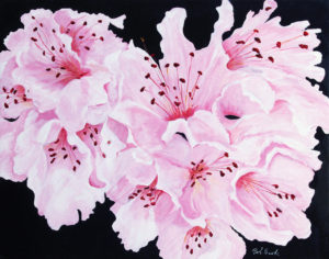 Rhododendron acrylic painting deep canvas