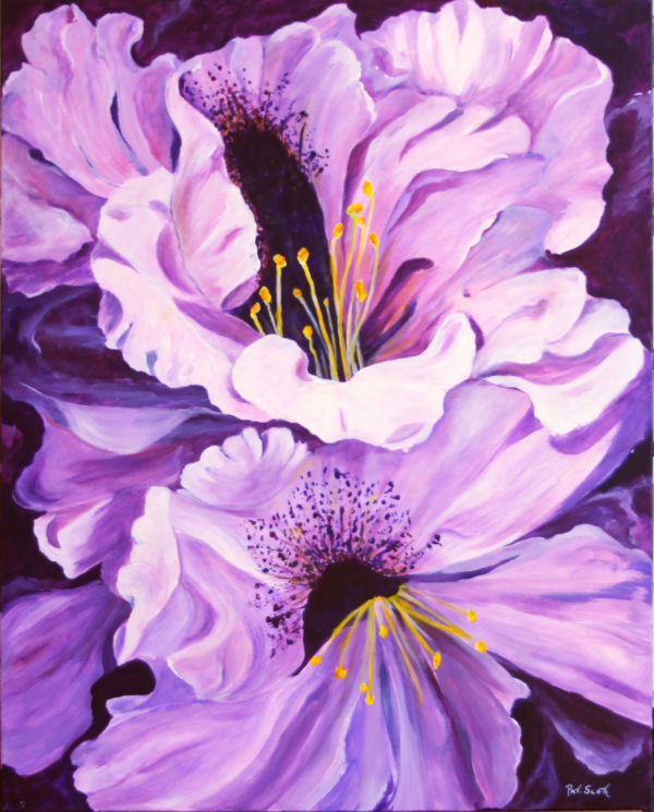 Purple Rhododendron acrylic painting deep canvas
