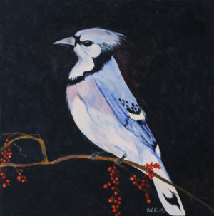 Blue Jay acrylic painting deep canvas
