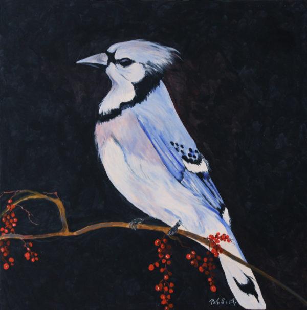 Blue Jay acrylic painting deep canvas