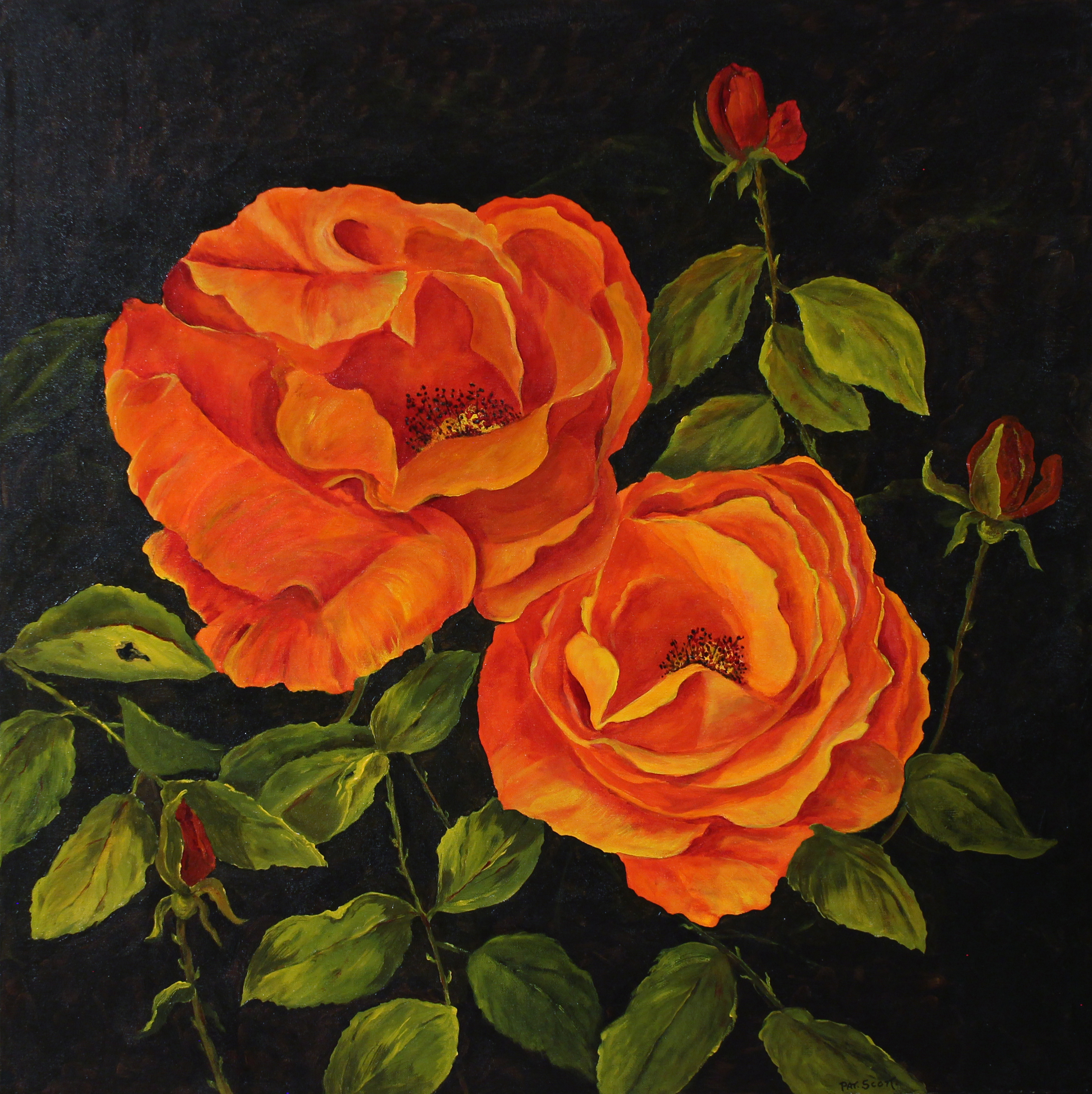 Orange Rose acrylic painting deep canvas