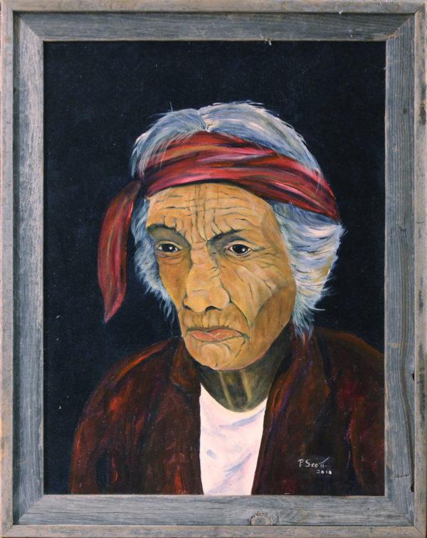 "Navajo Elder oil painting framed 18"" x 24"""