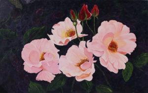 Floribumda Roses acrylic painting deep canvas