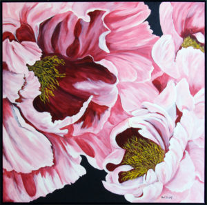 Peony framed acrylic painting deep canvas