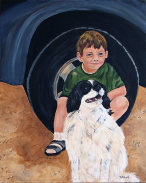 Boy and his dog acrylic painting deep canvas