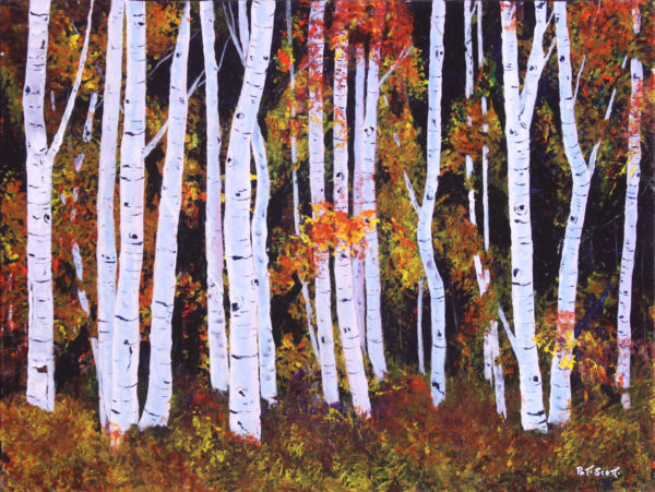 Fall Birch Trees acrylic painting deep canvas