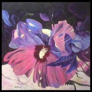 Hibiscus - Framed Acrylic Painting - Deep Canvas - 2' by 2'